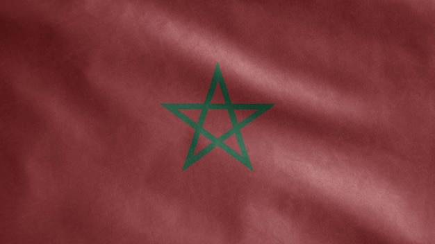 Moroccan flag waving in the wind. morocco banner blowing, soft and smooth silk