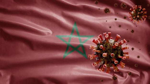 Moroccan flag waving with coronavirus outbreak infecting respiratory system as dangerous flu