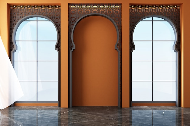 Moroccan interior space with arabic laser cut patterns at windows and furniture 3d rendering