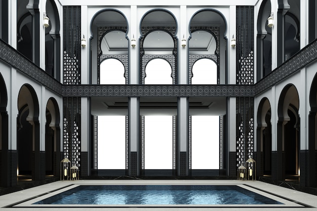 Moroccan mainhall double space with pond in the middle of the house 3d rendering