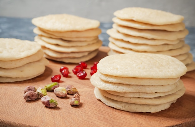 Moroccan pancake layer cake - baghrir cake.
