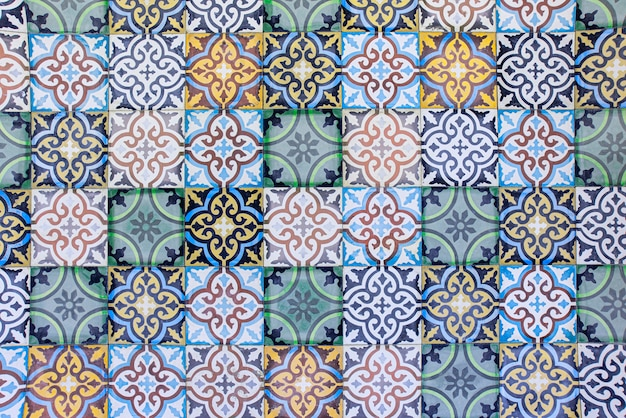 Moroccan tiles with traditional arabic ceramic tiles patterns background