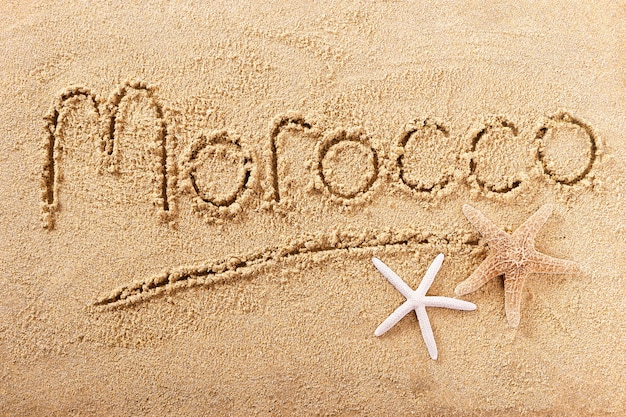 Morocco beach word writing message travel concept