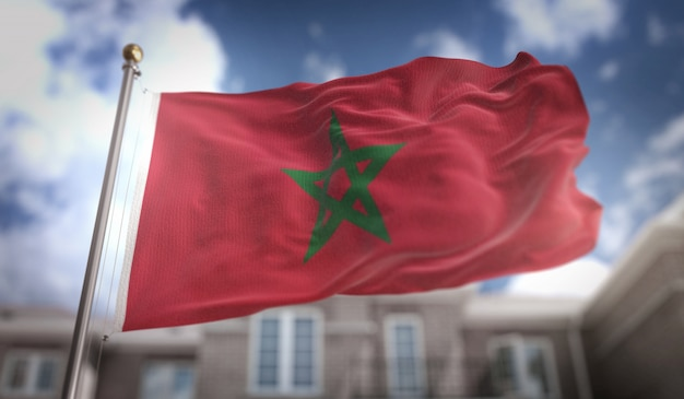 Марокко флаг 3d рендеринг на фоне голубого неба