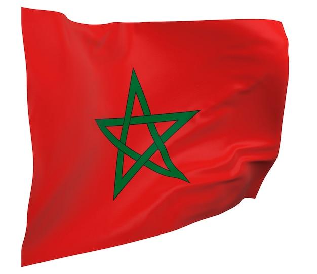 고립 된 모로코 플래그입니다. 배너를 흔들며. 모로코 국기