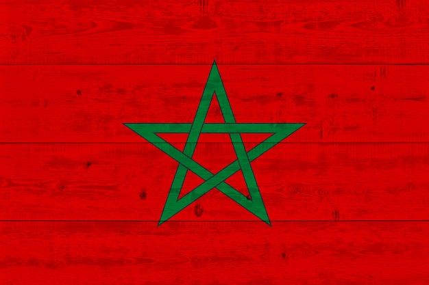 Morocco flag painted on old wood plank