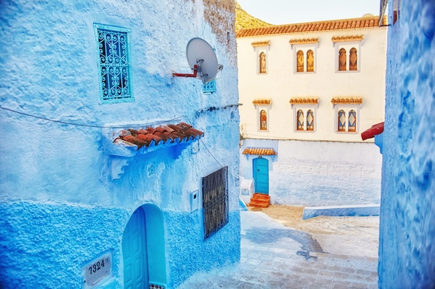 Morocco is the blue city of chefchaouen blue color