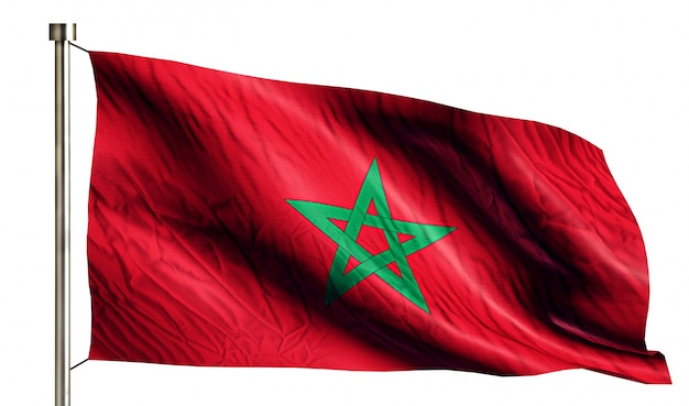 Morocco national flag isolated 3d white background