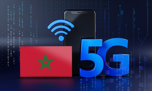 Morocco ready for 5g connection concept. 3d rendering smartphone technology background