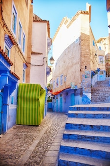 Morocco streets painted in blue color chefchaouen
