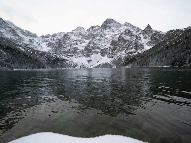 Morskie oko lake surrounded by the tatra mountains in poland