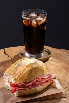Mortadella sandwich on a wooden table