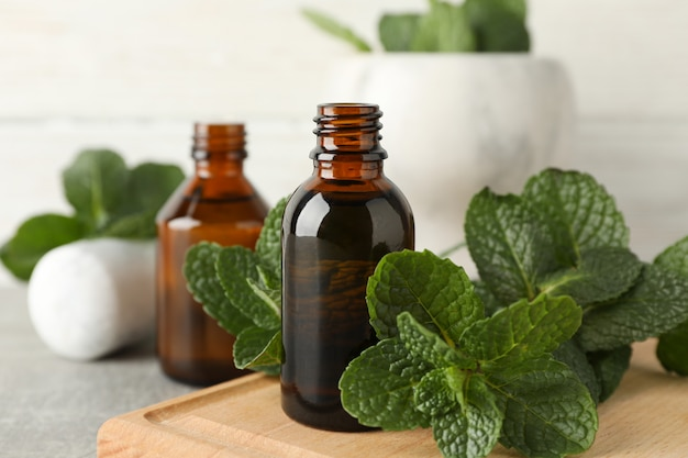 Mortar, medical bottles and mint on grey table, close up