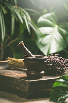 Mortar and pestle on tropical scene, close up