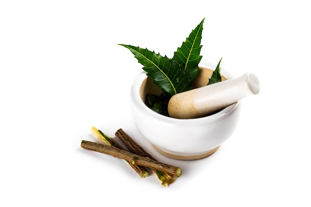 Mortar and pestle with medicinal neem leaves on white surface
