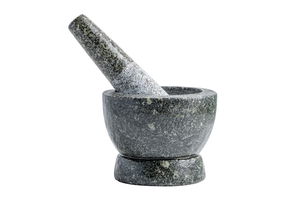 Mortar in thailand for herb cooking isolated on white background with clipping path.