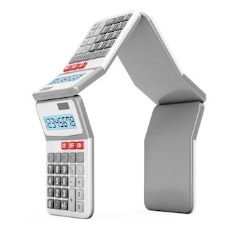 Ипотечные калькуляторы в форме дома на белом фоне. 3d рендеринг