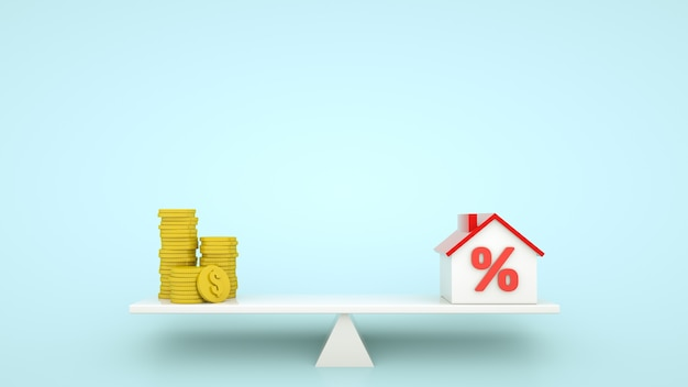 Mortgage concept idea balancing of coin stacks and house model with percent sign on small seesaw
