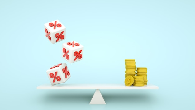 Mortgage or credit concept. percent cubes and coin money stacks balancing. 3d illustration.