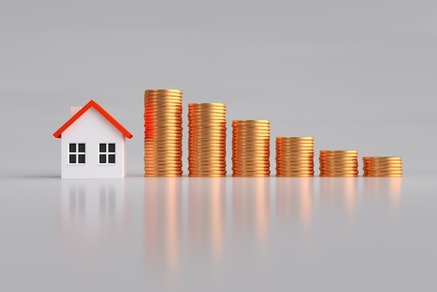 Mortgage, investment, real estate and property concept - close up home model and piles of gold coins