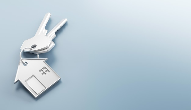 Mortgage, investment, real estate and property concept - close up of house keys. 3d rendering illustration