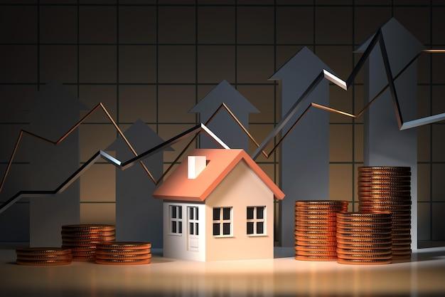 Ипотечный кредит, инвестиции, недвижимость и концепция собственности - модель дома и стопка золотых монет 3d визуализации