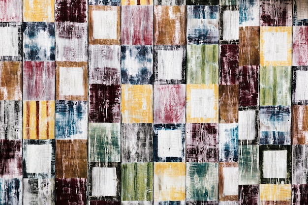Mosaic of colourful square shapes texture
