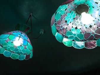 Mosaic glass ceiling lights