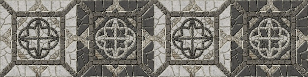 Mosaic made of natural granite. decorative stone tiles. element for interior design, floor and walls. stone background texture