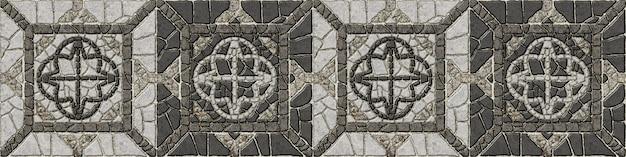 Мозаика из натурального гранита. декоративная каменная плитка. элемент для оформления интерьера, пола и стен. каменный фоновой текстуры