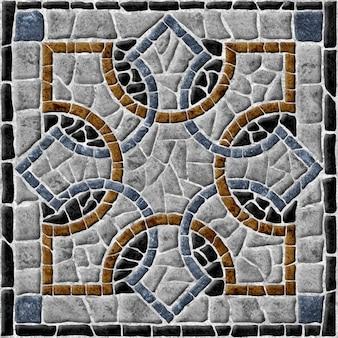 天然花崗岩で作られたモザイク。装飾的な石のタイル。 、床と壁。石の背景テクスチャ