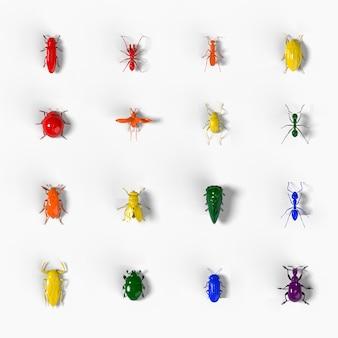 白地に3dレンダリングされた昆虫のモザイク