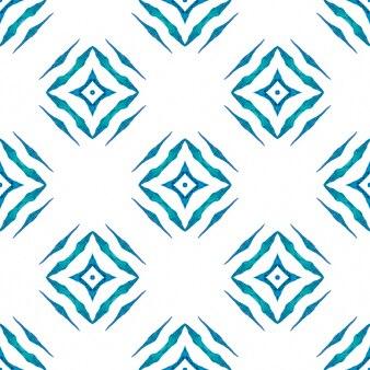モザイクのシームレスなパターン。ブルーの並外れた自由奔放に生きるシックな夏のデザイン。手描きの緑のモザイクのシームレスな境界線。テキスタイルレディの形の良いプリント、水着生地、壁紙、ラッピング。