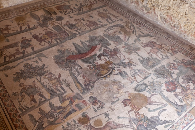 Mosaics of the banquet room in the villa romana del casale, piazza armerina