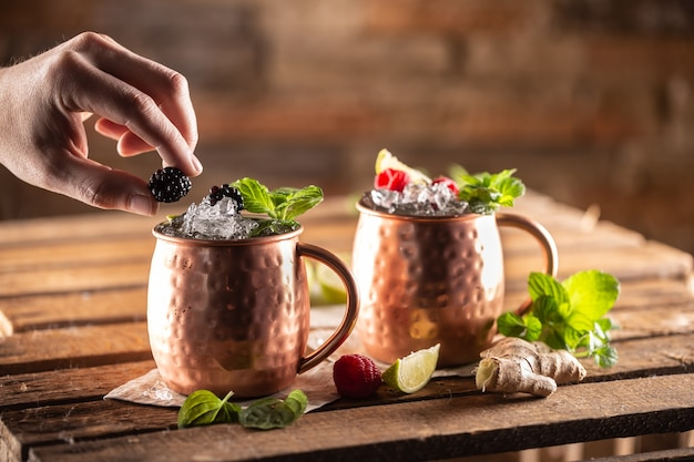 Moscow berry mule highball vodka cocktail is a long drink with fresh lime juice, ginger beer and berries.