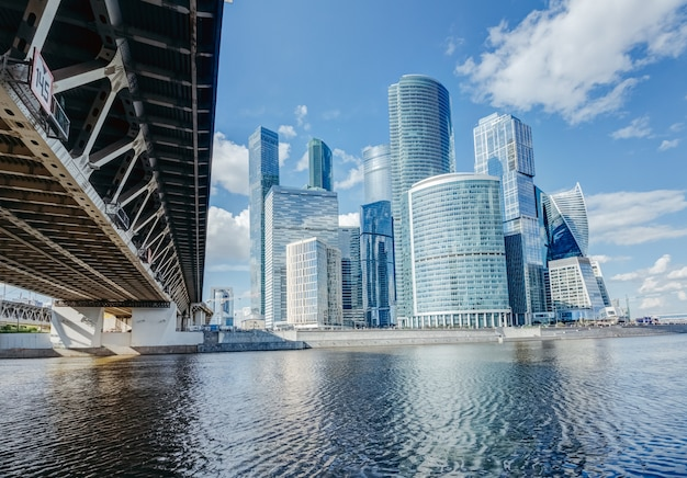 Moscow city view with a bridge