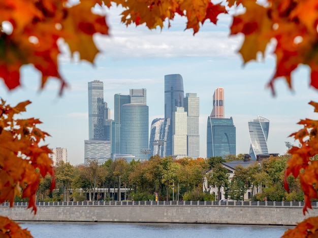 Московский международный деловой центр в осенний день. деловой район города.