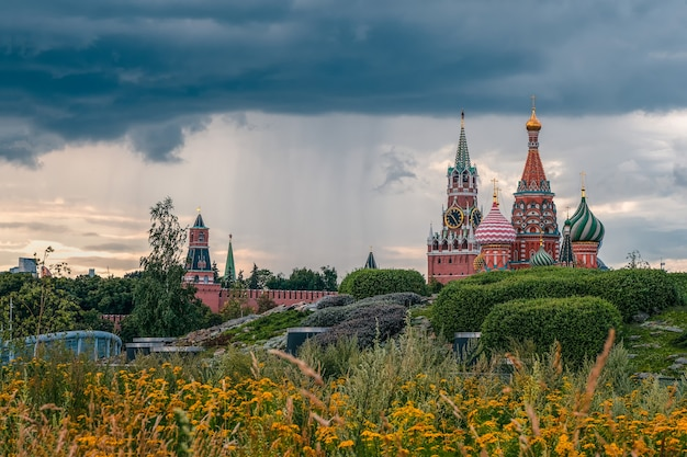 Moscow kremlin, a beautiful view of the architectural complex of the moscow kremlin on a rainy autumn day