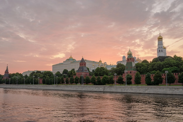 Moscow kremlin embankment and moscow river at sunset. architecture and landmark of russia.