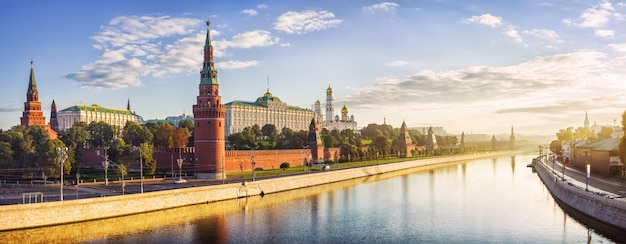 Moscow kremlin, the kremlin embankment and the water of the moscow river in the rays of the dawn
