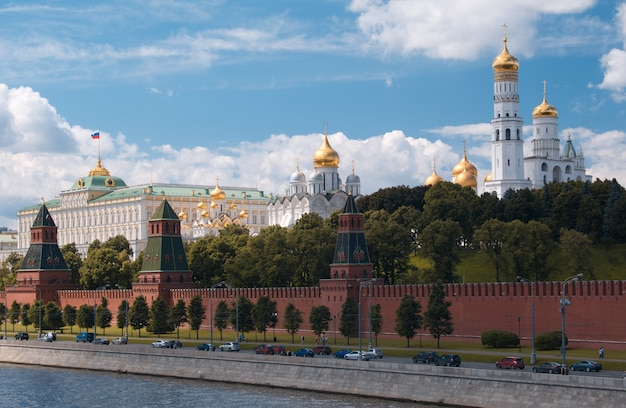 Moscow kremlin and waterfront.