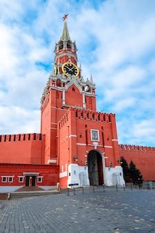 붉은 광장, 모스크바, 러시아에 중심 도시에 spassky 타워와 모스크바 크렘린