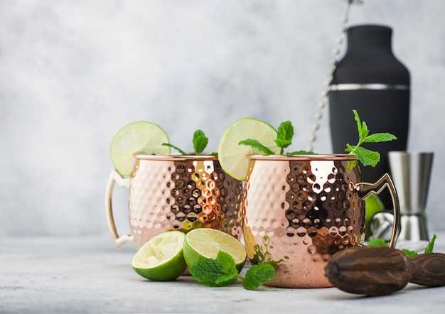 Moscow mule cocktail in a copper mug with lime and mint