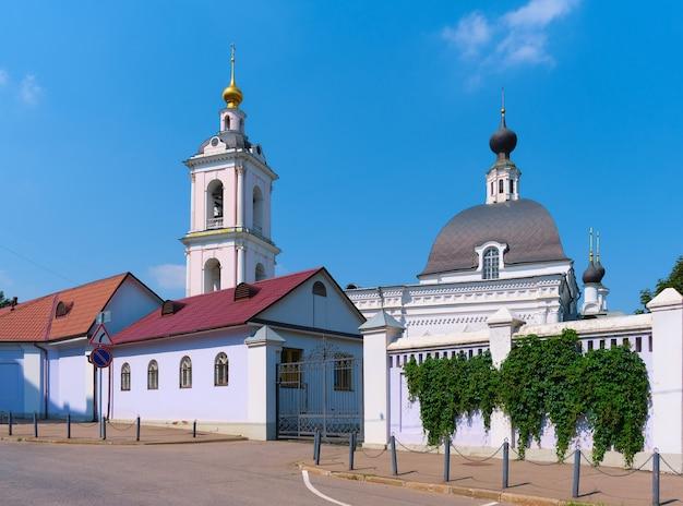 Moscow orthodox church, view of the church of nicholas the wonderworker in pokrovskoye, landmark, 1765-1766 built