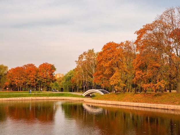 舗装の上を歩く人々と秋のモスクワ川駅ドルジビー公園。モスクワ。