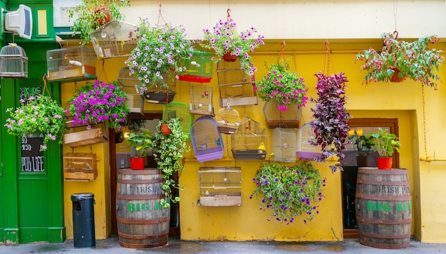 Moscow, russia, july 3, 2021. birdcages and flowers on a city street.