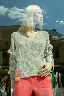 Moscow. russia. june 5, 2021. a mannequin in a shop window.