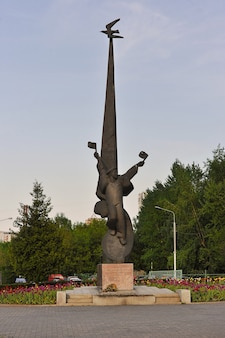 Moscow, russia - may 19, 2021: monument to the solovetsky jungs who died during the great patriotic war