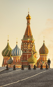 Moscow view of saint basils cathedral at the red square during evening sunlight