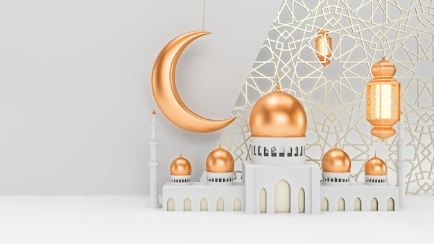 月とモスクとキャンドルランタンは、イスラムの装飾が施されたきれいな白い背景にぶら下がっています